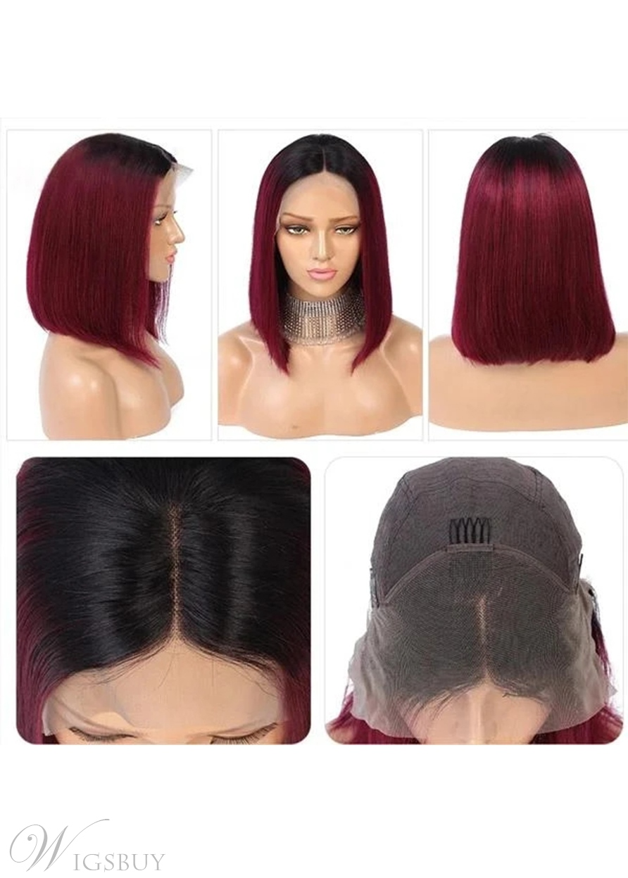 99J Straight Bob Short Hairstyle T Part Lace front Wig 14 Inch