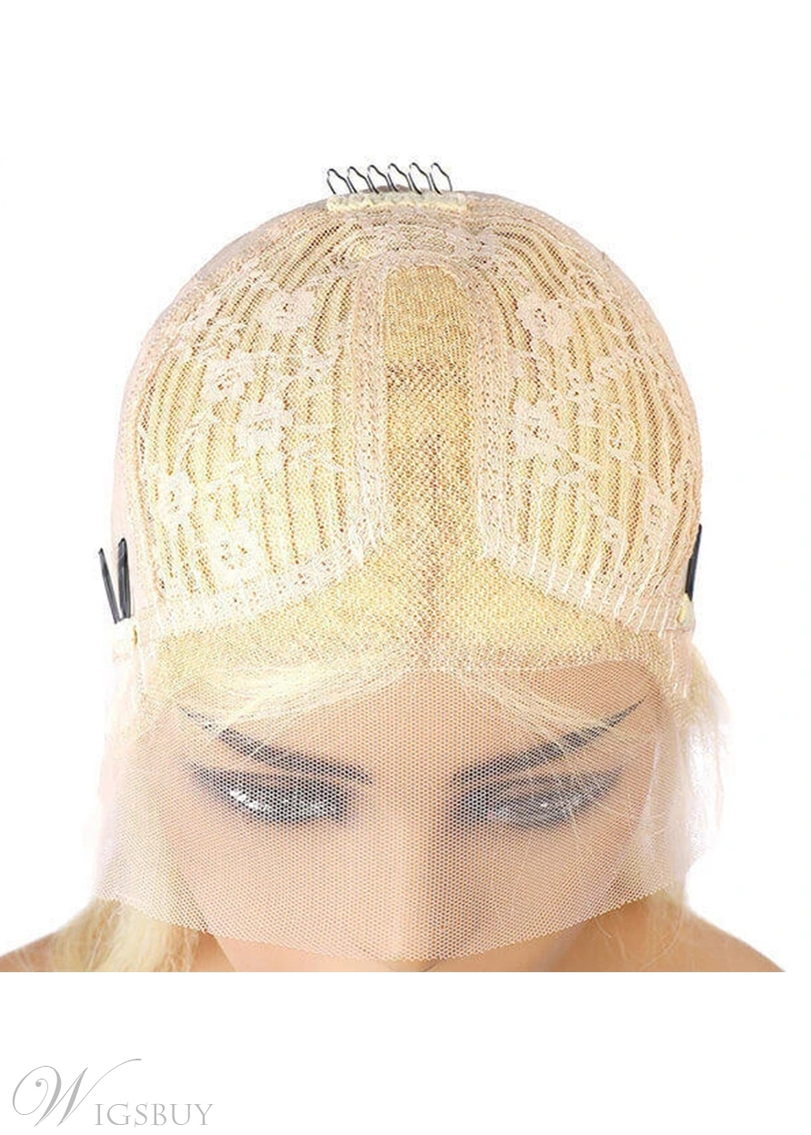 Blonde Lace Front Wig Body Wave 613 Hair T Part Human Hair Wigs 26Inch