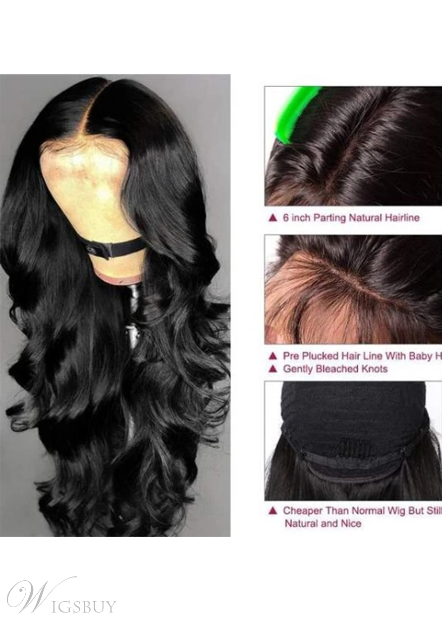 Women's T-part Wig Body Wave 100% Unprocessed Human Hair Wigs 24Inch