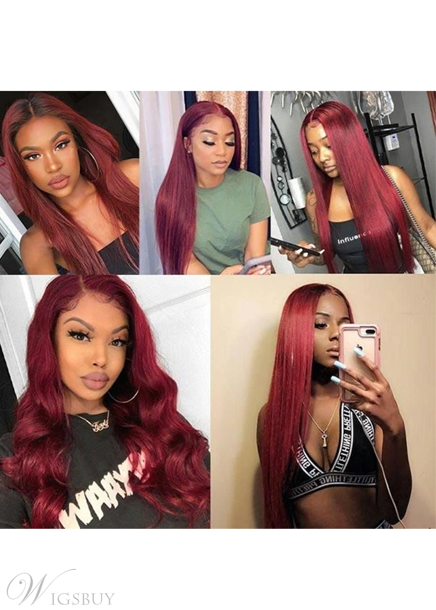 99J Color Burgundy Middle Part Lace Front Wig Colored Straight Human Hair Wigs 30Inch