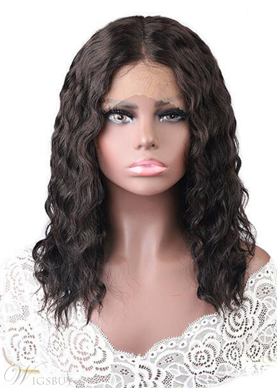 Wet And Wavy Hair Wigs Water Wave Middle Part Pre Plucked Lace Front Wigs 18Inch