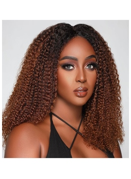 Women's Ombre Color Afro Kinky Curly Human Hair Wigs Middle Part Lace Front Cap Wigs 20Inch