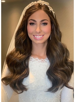 Full Head Wedding Women's Body Wavy Human Hair Wigs Lace Front Wigs 24Inch