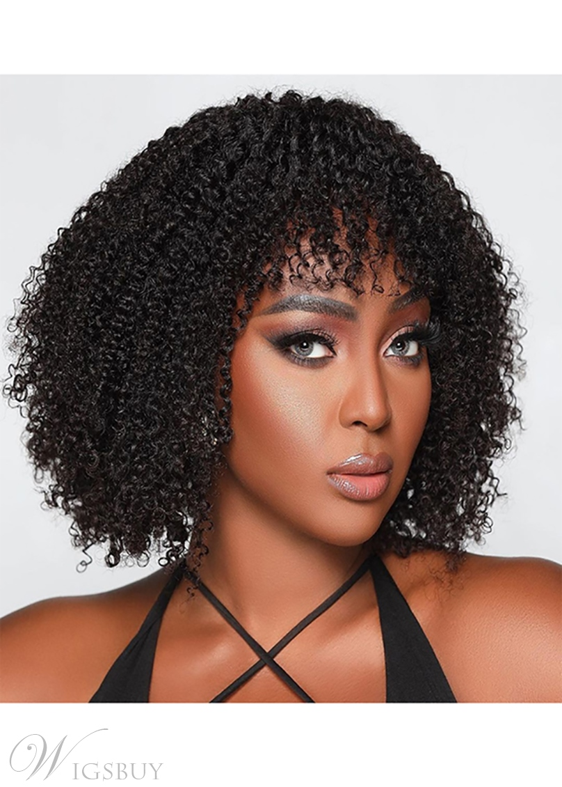 Afro Kinky Curly Women's Medium Hairstyles Curl Human Hair Capless Wigs With Bangs 14Inch