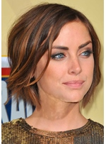 Jessica Stroup Hottest Short Haircuts Women's Natural Straight Synthetic Hair Capless Wigs 10Inch