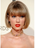 Hottest Short Haircuts Women Taylor Swift Bob Style Straight Human Hair Capless Wigs 10Inch
