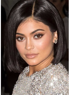 Kylie Jenner Short Bob Hairstyle Women's Straight Human Hair Lace Front Wigs 10Inch