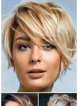 Short Shaggy Women's Layered Hairstyles Straight Synthetic Hair Capless Wigs 8Inch