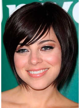 Krysta Rodriguez Hottst Short Bob Haircuts Women's Straight Human Hair Capless Wigs 10Inch