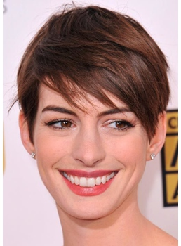 Hottest Short Haircuts Women Anne Hathaway Straight Human Hair Capless Wigs 6Inch