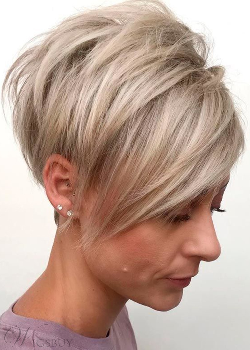 Women's Long Side Parted Feathered Pixie Cut Sraight Synthetic Hair Capless Wigs 6Inch