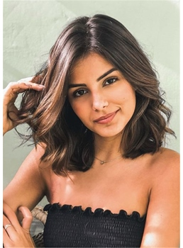 Women's Wavy Middle Length Human Hair Capless Wigs 14 Inch