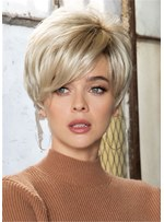 Pixie Cut Side Parted plumes sraight cheveux synthétiques perruques capless 8 pouces