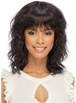 African American Curly Synthetic Hair With Bangs Capless Wigs 16 Inch