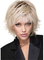 Short Shaggy Hairstyles Medium Bob Synthetic Hair Wavy Wigs 12 Inch