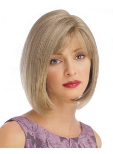 Women's Natural Straight Synthetic Hair With Bang Capless Wigs 14Inch