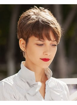 Pixie Cut Natural Sraight Synthetic Hair Capless Wigs With Bangs 8 Inch