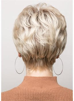 Pixie Cut Side Parted Feathered Sraight Synthetic Hair Capless Wigs 8 Inch