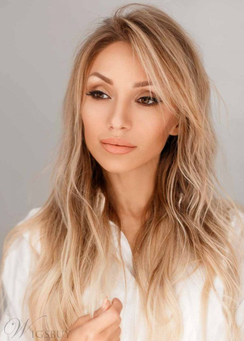 Shag Haircut Women's Long Blonde Wavy Synthetic Hair Capless Wigs With Bangs 22Inch