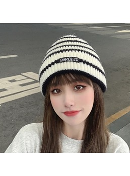 Unisex Women/Men's Sweet Style Hemming Brimless Cone Crown Stripe Woolen Yarn Hats