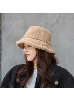 Women's Sweet Style Flat Crown Type Plain Pattern Bucket Hats For Spring/Fall/Winter