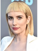 Emma Roberts Blonde Bob Style Human Hair Wigs With Bangs 16 Inch