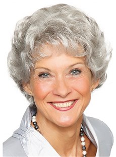 Short Grey Short Wavy Capless Synthetic Wig 12 Inches