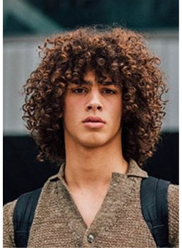 Men's Curly Synthetic Capless Hair Wig With Bangs 16 Inches