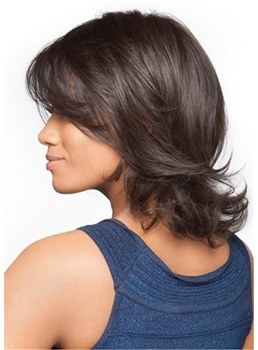 Feathered Bob Wig Wavy Human Hair With Flipped Ends 14 Inches