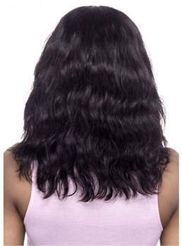 African American Wigs Natural Wavy Human Hair Wig With Full Bangs 16 Inches