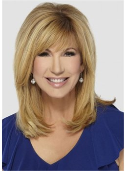 Leeza Gibbons Style Women's Medium Straight Blonde Human Hair Capless Wig With Bangs 16Inch