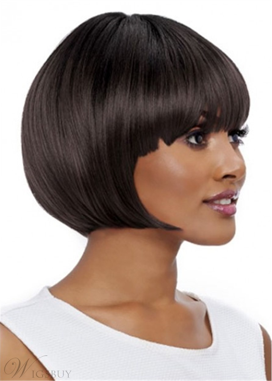 Short Bob Style Wig Natural Straight Synthetic Wig 12 Inches