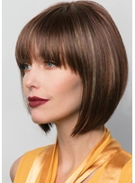 Short Bob Hairstyle Women's Straight Human Hair Capless Wigs With Bangs 8Inch