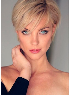 Women's Top Popular Pixie Cut Looks Straight Synthetic Hair Capless Wigs 6Inch
