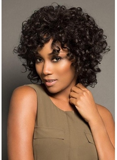 Women's Short Afro Curly Human Hair Capless Wigs 10Inch