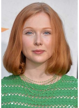 Stacked Bob Haircut Ideas Blunt Wavy Ends Molly Quinn Straight Synthetic Hair Capless Wigs 14Inch