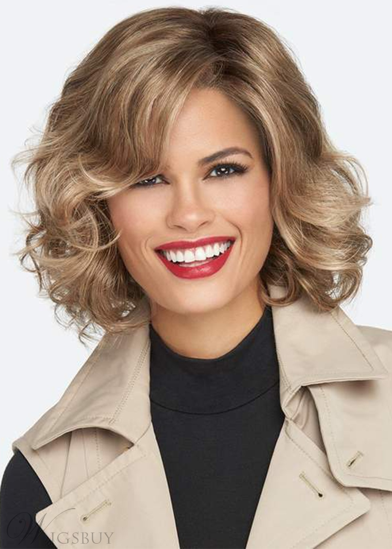 Women's Medium Layered Hairstyle Wavy Synthetic Hair Capless Wigs 14Inch