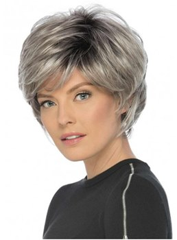 Short Choppy Cut Human Hair Wavy Capless Women Wig 12 Inches