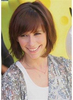 Jennifer Love Hewitt Hairstyle Short Bob Human Hair Straight Wig With Bangs 14Inches