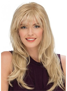 Long Fluffy Hairstyle Women's Wavy Human Hair Capless Wigs With Bangs 18 Inch