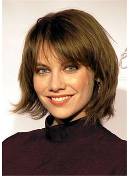Lauren Cohan Haircut Chin Length Human Hair Capless Wig With Bangs14 Inches