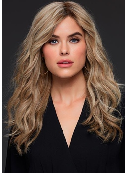 Women's Long Length Layered Hairstyle Wavy Human Hair Capless Wigs 22Inch