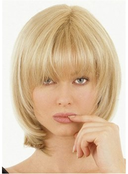 Shoulder Length Natural Straight Synthetic Hair With Bangs Capless Women Wigs 14Inches