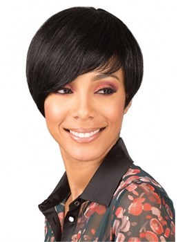 Short Bob Wigs For Women Human Hair Capless Wigs With Bangs 8Inch