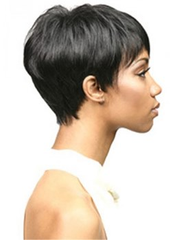 African American Pixie Short Straight Human Hair Capless Wigs 8Inches