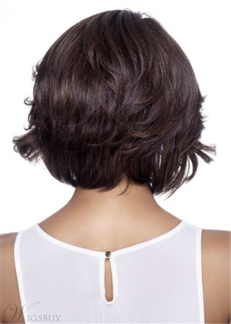 Synthetic Full Bob Sytle Wavy Hair CaplessWig With Bangs 14 Inches
