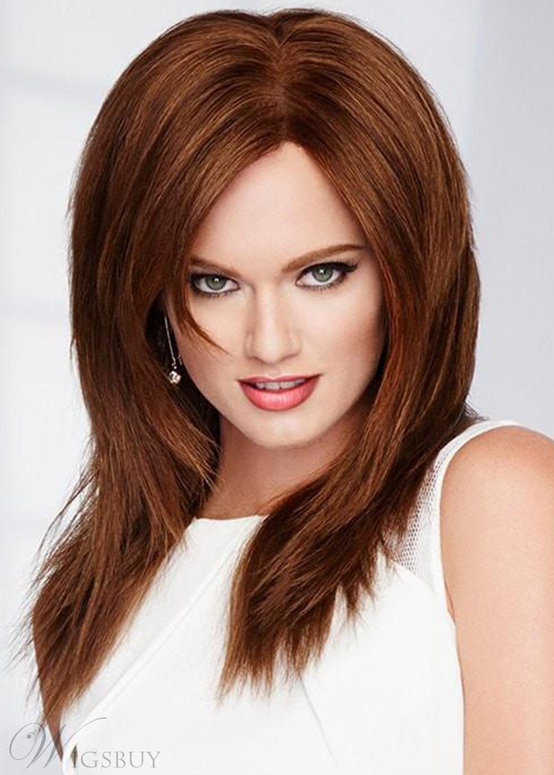 Medium Hairstyle Women's Natural Straight Synthetic Hair Capless Wigs 18Inch