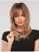 Chin-Length Natural Straight Synthetic Hair With Bangs Women Capless Wig 18 Inches