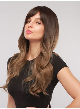 Women's Long Wavy Two Tone Synthetic Hair Wigs With Bangs 28 Inches