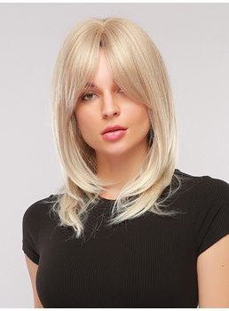 Shoulder Length Bob Middle Part Synthetic Srraight Hair Capless Women Wig 20 Inches